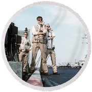 Landing Signal Officers Guide An F-14 Round Beach Towel