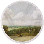 Landscape - Ploughing Scene In Suffolk Round Beach Towel