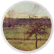 Landscape At Eragny Round Beach Towel