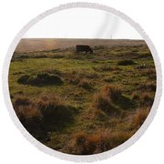 Landscape With Cow Grazing In The Field . 7d9935 Round Beach Towel
