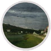 Landscape With Stormy Sky Round Beach Towel