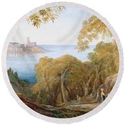 Landscape With View Of Lerici Round Beach Towel