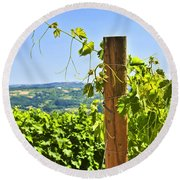 Landscape With Vineyard Round Beach Towel by Elena Elisseeva