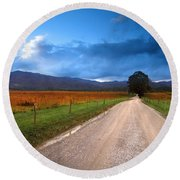 Lane Across Valley Round Beach Towel