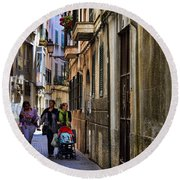 Lane In Palma De Majorca Spain Round Beach Towel
