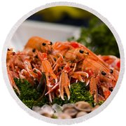 Langoustines At The Market Round Beach Towel