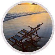 Lanikai Chairs At Sunrise Round Beach Towel