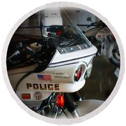 Lapd Motorcycle Round Beach Towel