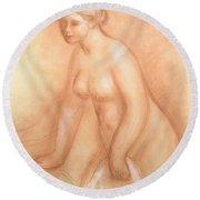Large Bather Round Beach Towel by Pierre Auguste Renoir