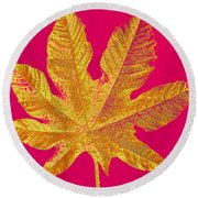 Large Leaf Photoart Round Beach Towel