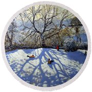 Large Tree And Tobogganers Round Beach Towel by Andrew Macara