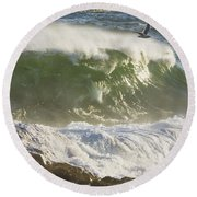 Large Waves And Seagulls Near Pemaquid Point On Maine Round Beach Towel