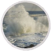 Large Waves On Rocky The Coast Maine Round Beach Towel