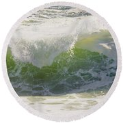 Large Waves On The Coast Of Maine Round Beach Towel