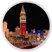Las Vegas Canvas Panorama Round Beach Towel