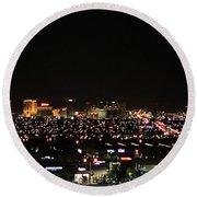 Las Vegas Nevada Nighttime Skyline Round Beach Towel