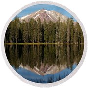 Lassen Peak Reflections Round Beach Towel