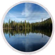 Lassen Summit Lake Reflections Round Beach Towel
