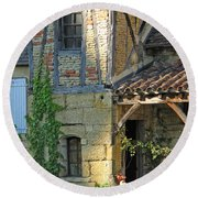 Last Light In Sarlat Round Beach Towel
