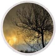 Last Light In The Storm Round Beach Towel