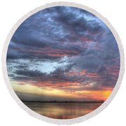 Last Light Over The Lake Round Beach Towel