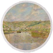 Late Afternoon - Vetheuil Round Beach Towel