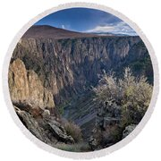 Late Afternoon At Black Canyon Of The Gunnison Round Beach Towel