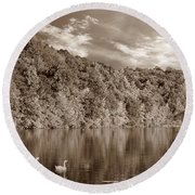 Late Afternoon At The Lake - S Round Beach Towel