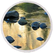 Late Afternoon Reflections In Merced River In Yosemite Valley Round Beach Towel