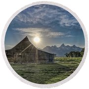 Late Evening At Moulton Barn Round Beach Towel