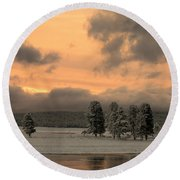 Late Spring Storm In Yellowstone Round Beach Towel