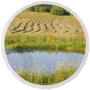 Late Summer Hay Being Harvested In Maine Canvas Poster Print Round Beach Towel