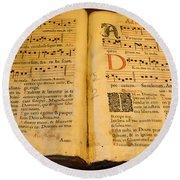 Latin Hymnal 1700 Ad Round Beach Towel