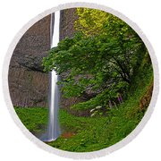 Latourell Falls Oregon - Posterized Round Beach Towel