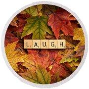 Laugh-autumn Round Beach Towel