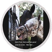 Laughing Horse Round Beach Towel