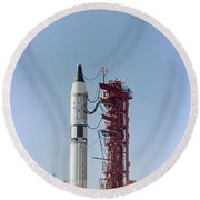 Launch View Of The Gemini-titan 3 Round Beach Towel