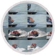 Launching The Lifeboat Round Beach Towel