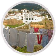 Laundry Day In Azores Round Beach Towel