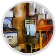 Laundry Drying In Kitchen Round Beach Towel by Susan Savad