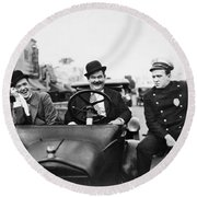 Laurel And Hardy, 1928 Round Beach Towel