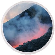 Lava Flowing From Base Of Hornito Round Beach Towel