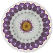 Lavender And Yellow Kaleidoscope Round Beach Towel