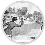 Lawn Tennis, 1883 Round Beach Towel