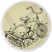 Lawnmower Tricycle Patent Round Beach Towel