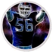 Lawrence Taylor  Round Beach Towel by Paul Ward