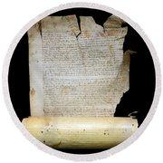 Lawsuit Of The Cathedral Chapter Of Calahorra. Pleito Del Cabildo Catedralicio De Calahorra Round Beach Towel