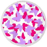 Layered Butterflies  Round Beach Towel by Louisa Knight