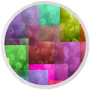 Layered Tiles Abstract Round Beach Towel