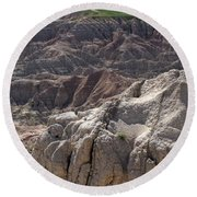 Layers Of Rock In The Badlands Round Beach Towel